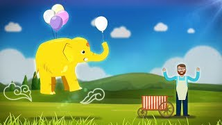 Golden Baby Elephant! Follow the baby elephants and study colors with ice cream and balloons
