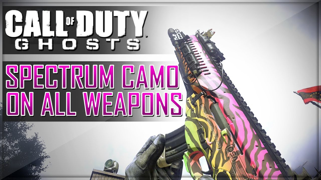 The Spectrum Camouflage is a DLC camouflage for Call of Duty: Ghosts. It is part of the Xbox Pack and only available on the Xbox and Xbox One if pre-ordered on the Microsoft Store. The Spectrum Camouflage, like its name implies, is a bright spectrum of neon colors in a zebra stripe pattern.