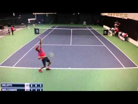 Denys Molchanov takes a dive during his fixed match at the Dallas Challenger