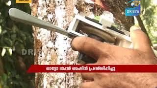 Auto Rubber Tapper - Testing by Adv. S. Jayasooryan, Rubber Board Vice Chairman