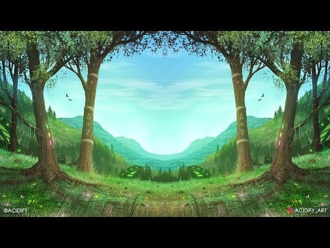 How To Draw A Beautiful Ghibli Mountain Valley Landscape ❤️  (Digital Painting) Photoshop Tutorial