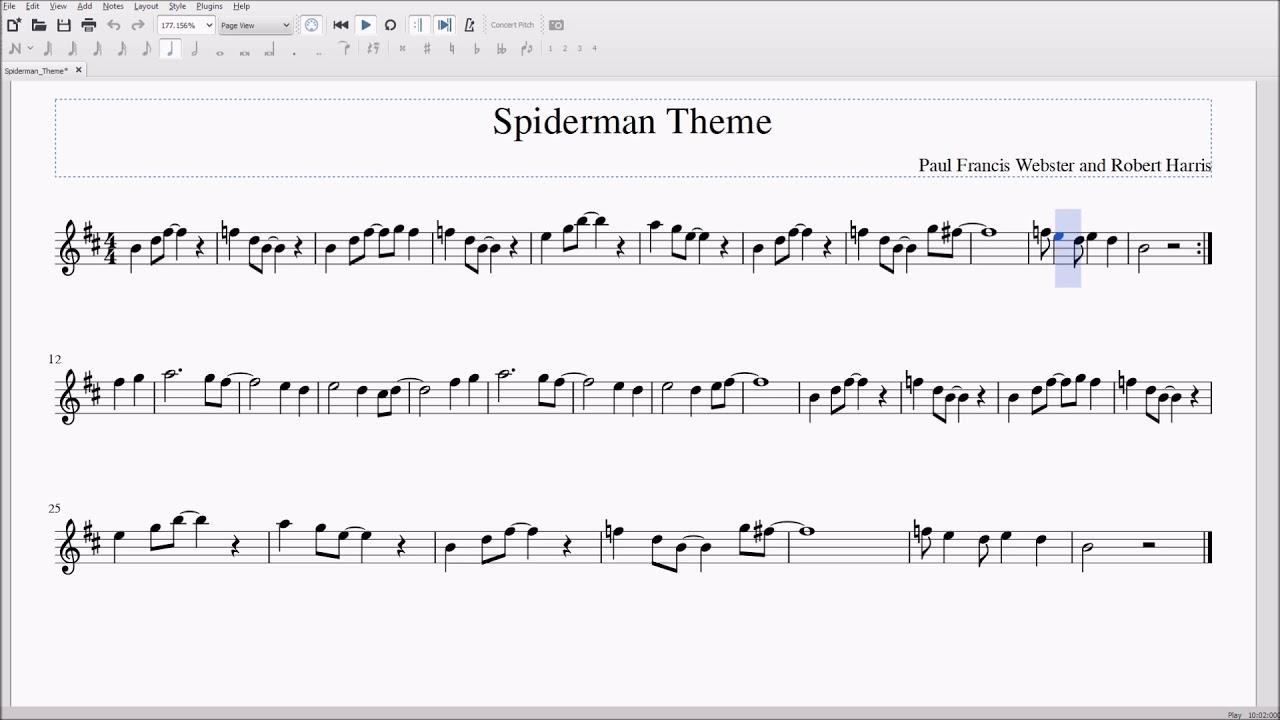 Spiderman Theme for Alto/Bari Sax Sheet Music - YouTube