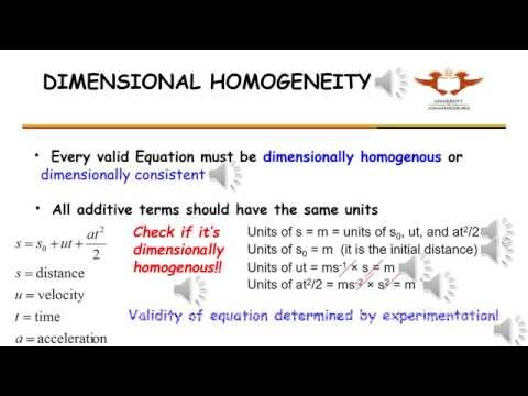 WAR21   Dimensionless Quantities and Dimensional Homogeneity, Consistency, Equations
