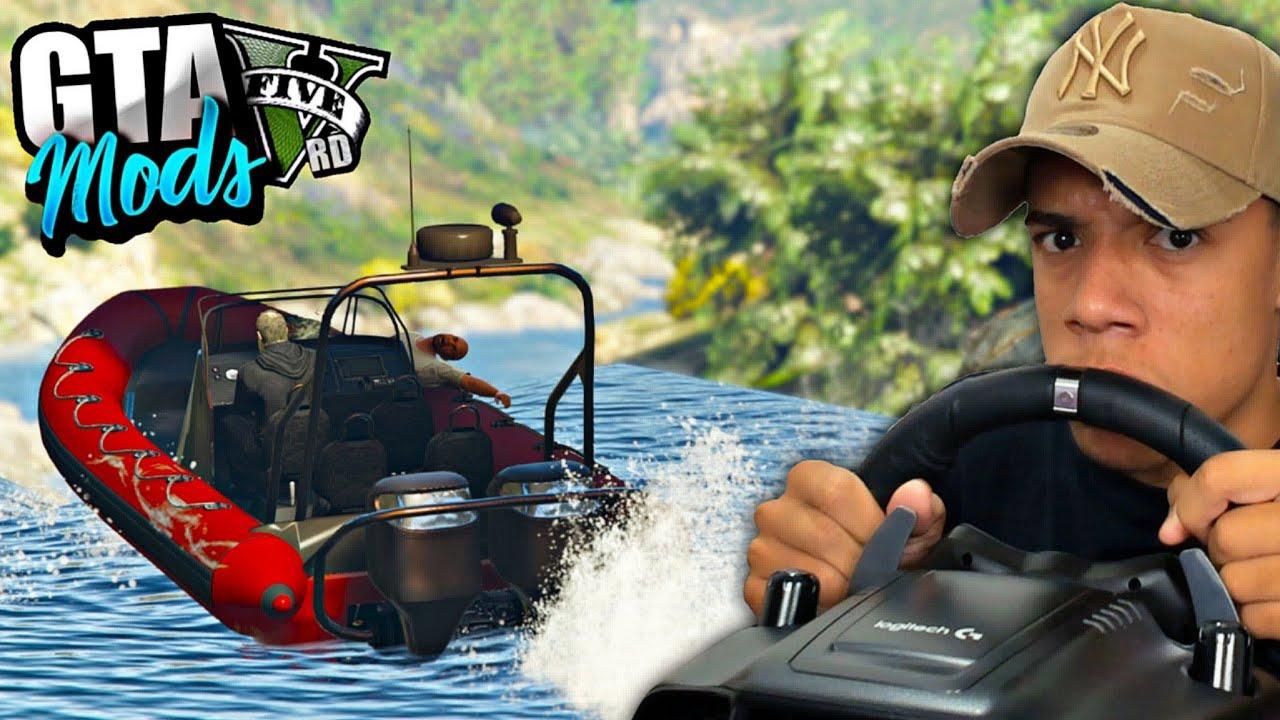 TENTANDO PILOTAR UM BARCO NAS CACHOEIRAS DO GTA 5 COM O VOLANTE! ( INSANO ) GTA 5 MODS
