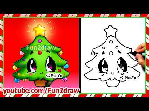 Easy Drawings - How to Draw Christmas Tree - Cute Christmas Stuff Things Top Drawing Videos Fun2draw