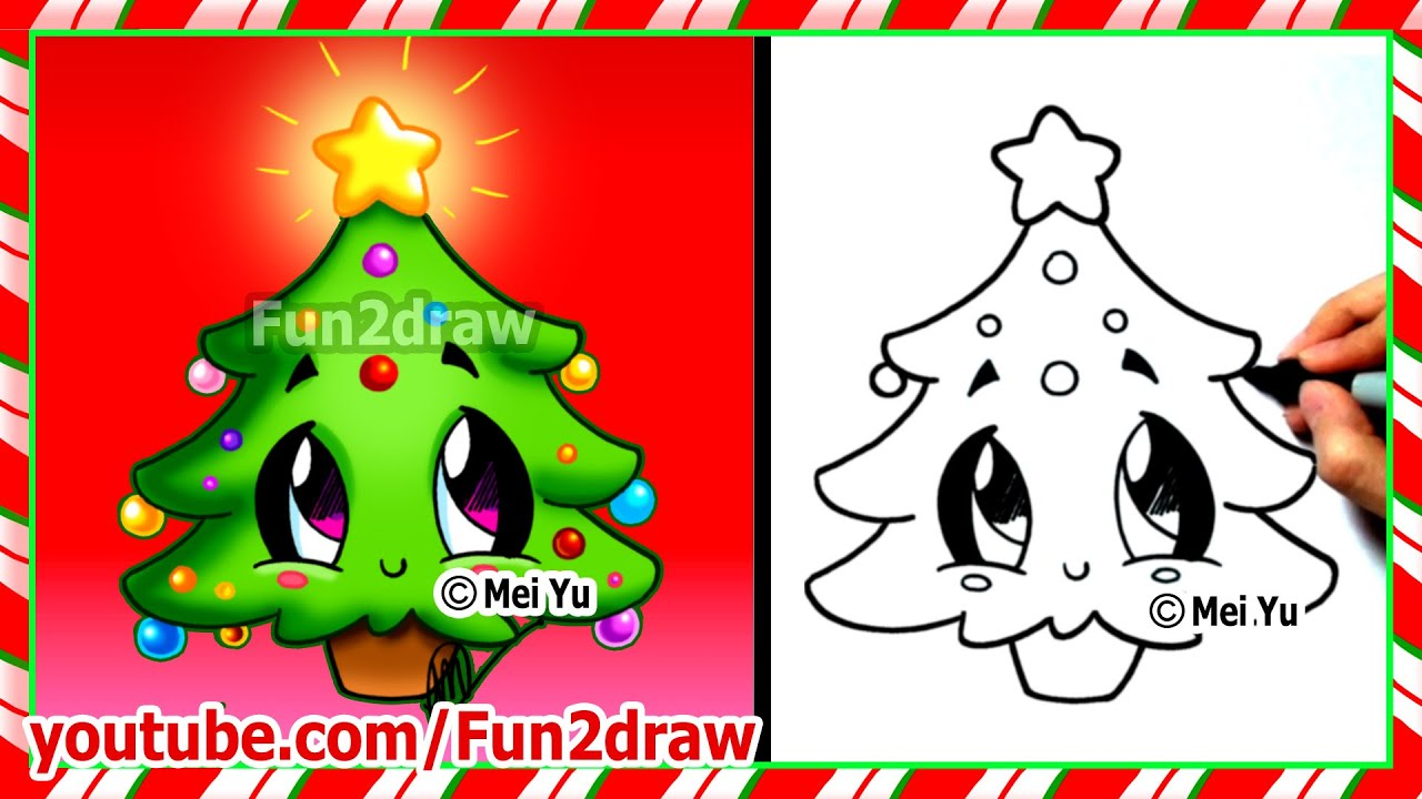 Easy Drawings - How to Draw Christmas Tree - Cute ...
