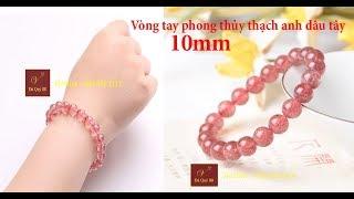 Vòng tay phong thủy đá thạch anh dâu tây tự nhiên hồng loại cao cấp 10mm