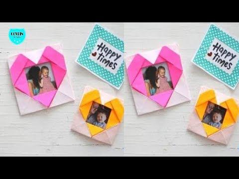Cara membuat bingkai foto keren bentuk love dari kertas origami | diy kerajinan tangan