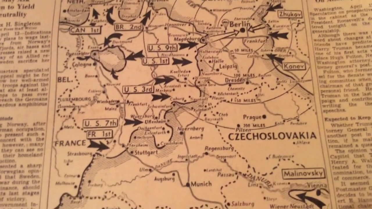 Wwii Ww2 April 1945 Battle Map Of Nazi Germany Hitler Western Front Youtube