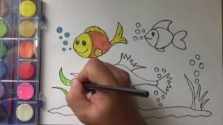 Game bé tô màu con vật dưới nước,  hướng dẫn tô tranh con cá