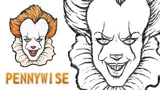 HOW TO DRAW PENNYWISE THE CLOWN FROM IT