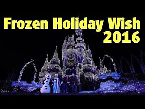 """Frozen Holiday Wish"" Cinderella Castle Lighting 2016 | Magic Kingdom"