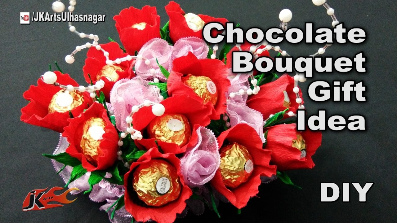How to make a chocolates bouquet ferrero rocher candy stand how to make a chocolates bouquet ferrero rocher candy stand festival gift idea jk arts 1181 youtube izmirmasajfo
