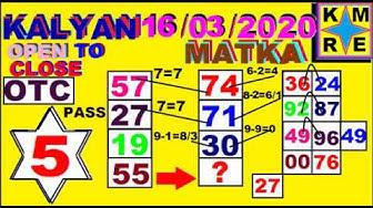 KALYAN MATKA *16/03/2020*FINAL ANK OTC TIPS TODAY AND SATTA MATKA KALYAN JODI TRICKS