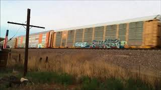 BNSF E/B autorack train going thought Crozier,AZ 08-03-2018