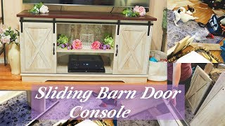 Sliding Barn Door Console 🍀(Farmhouse) TV Table Assembly & Review👈