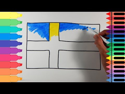 How to Draw Sweden Flag - Drawing the Swedish Flag - Art Colors for Kids | Tanimated Toys