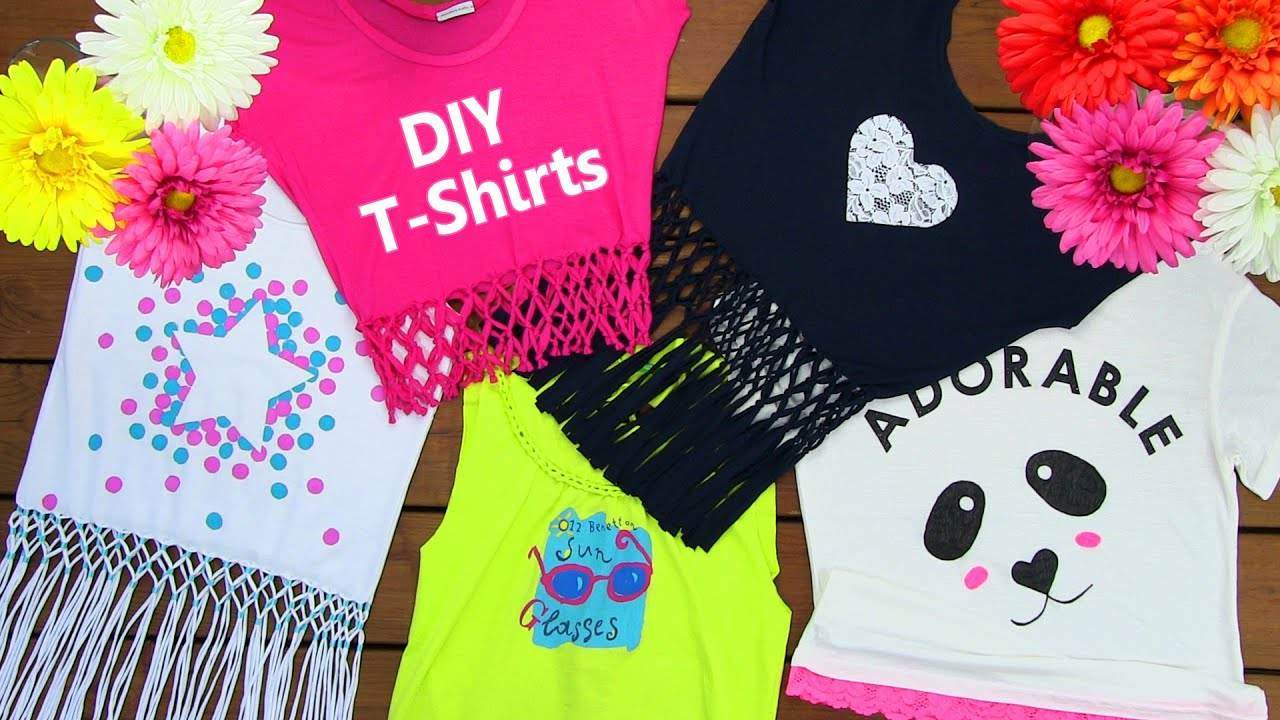 DIY 5 T Shirt Crafts (T Shirt Cutting Ideas And Projects With 5 Outfits)    YouTube