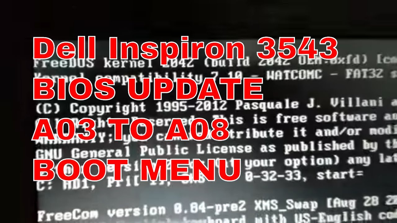 Dell Inspiron 3543 BIOS UPDATE A03 TO A08 FROM BOOT MENU
