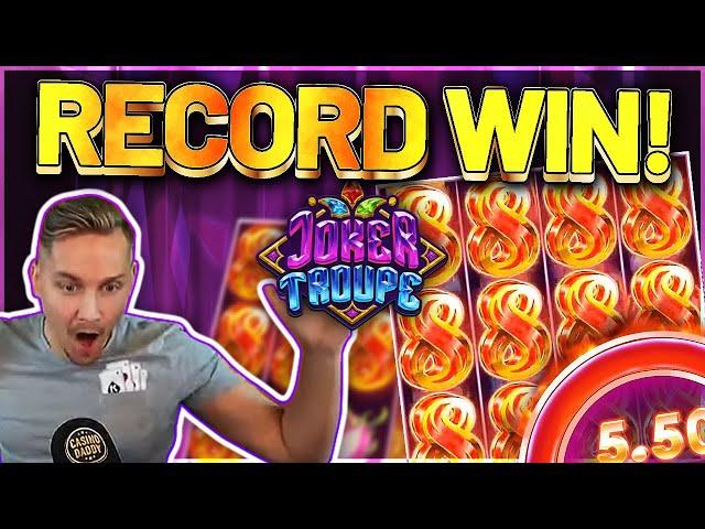 RECORD WIN! Joker Troupe Big win - HUGE WIN on Casino slot Casinodaddy LIVE STREAM