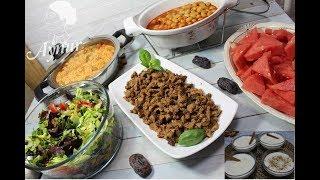 1 Saatte Iftar Menüsü I Et kavurmasi I Domatesli mantarli Pilav I Kurufasulye I Sütlac I Salata