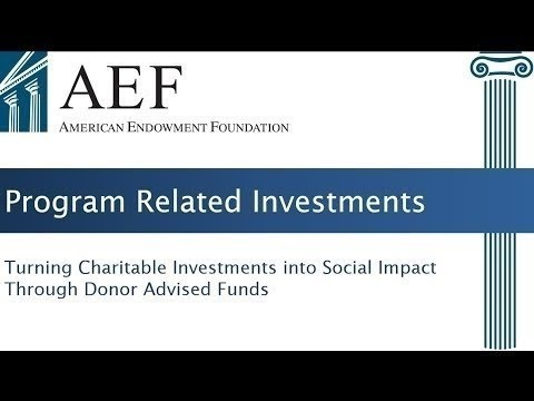 Webinar: Program Related Investments (PRI) Through Donor Advised Funds