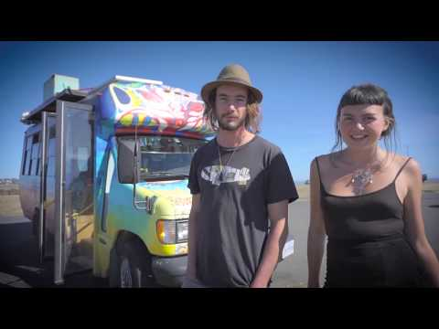 Couple Builds Artistic Tiny House From a Bus Conversion to travel North America.