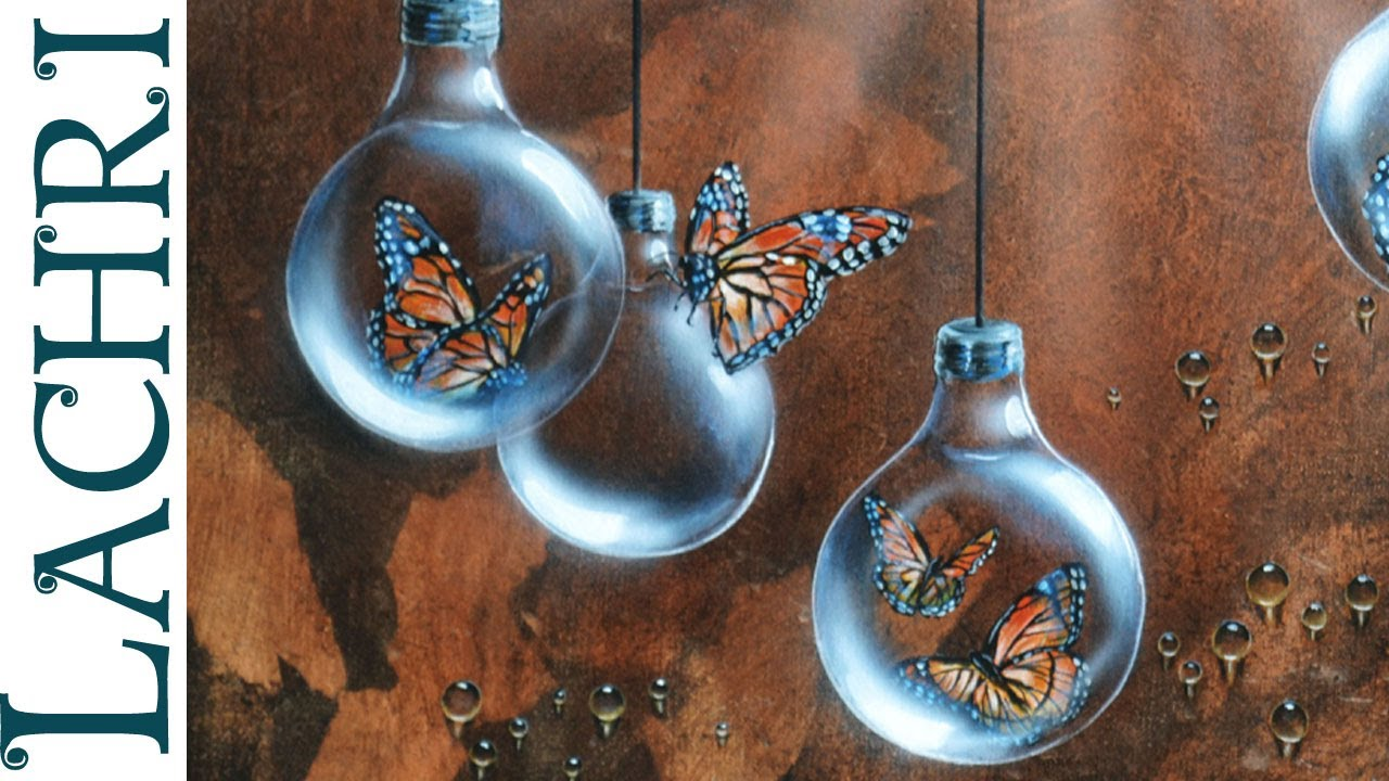 Time lapse surreal Butterfly and lightbulb acrylic  for Painted Light Bulb Art  110yll