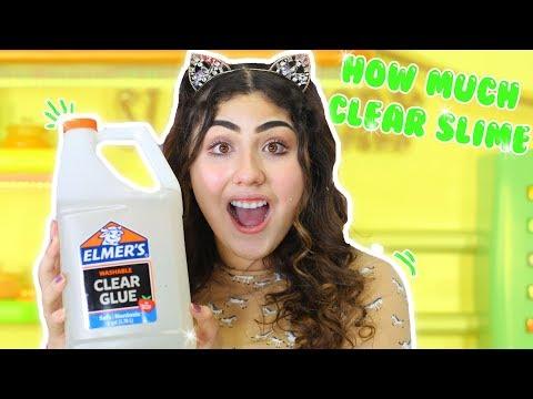 HOW MUCH CLEAR SLIME IN A GALLON OF ELMER'S GLUE | Slimeatory #111