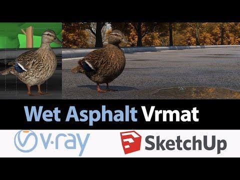 Wet Asphalt in V-ray 3 for SketchUp