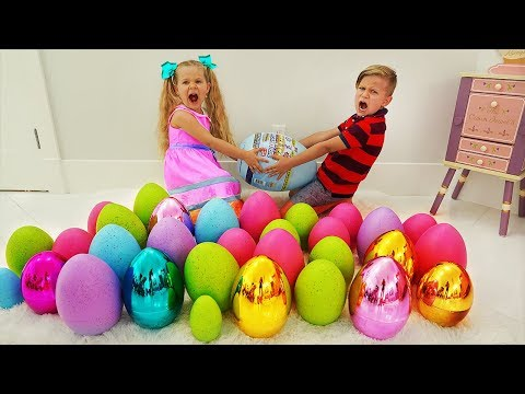 Diana and Roma pretend play Easter Surprise Eggs Hunt