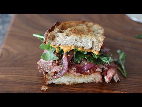 Steak Sandwich Recipe With Chipotle Mayo, Caramelized Red Onions And Arugula On Ciabatta Bread