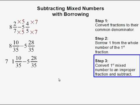 math worksheet : subtracting mixed numbers with borrowing  youtube : Subtraction Of Mixed Numbers Worksheet
