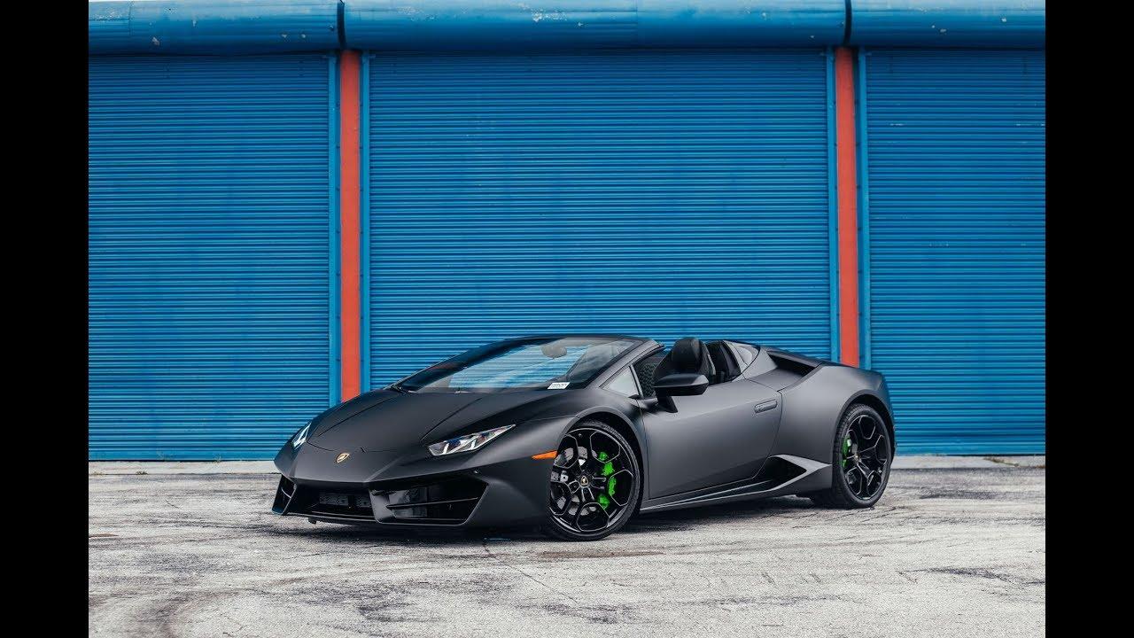 Matte Black Lamborghini Huracan Loud Sound Drive Interior Roof In
