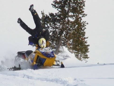 Skidoo Snowmobile Crash Track RIPS In HALF While Climbing Hill - This is what happens when you fly a snowmobile off a cliff