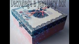 Decoupage a jewellery box - How to transfer photos to a wooden box - طريقة الترانسفير