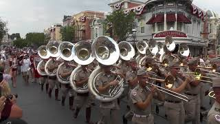Fightin' Texas Aggie Band March down Main Street at Disneyland - 9/2/17