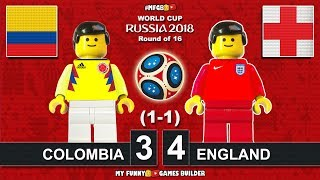 Colombia vs England 3-4 (1-1) World Cup 2018 Round of 16 (03/07) All Goals Highlights Lego Football