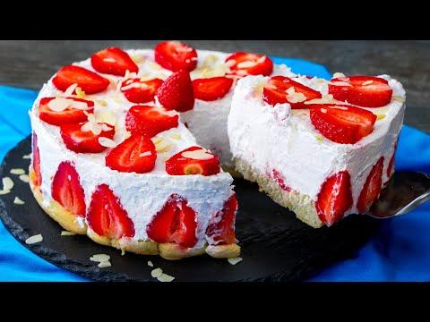 gâteau-au-yaourt-et-aux-fraises---le-gâteau-le-plus-tendre-sans-cuisson!|-savoureux.tv
