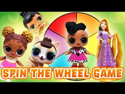 LOL Surprise Dolls Disney Princess Spin the Wheel Game! Featuring Rapunzel, Dollface, and Curious QT