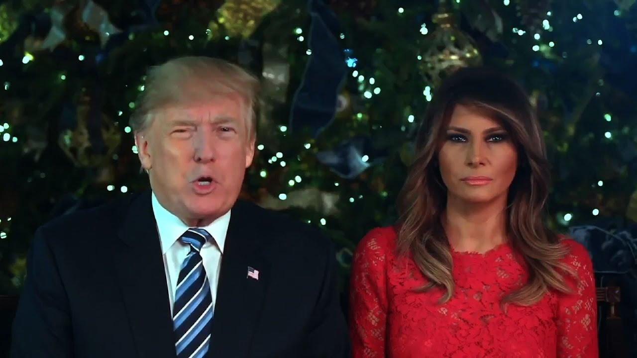 Trump Christmas.President Trump Melania Give Christmas Greeting