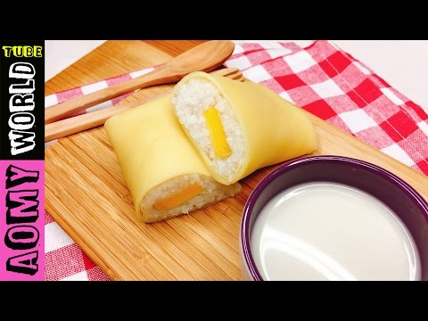 Sweet Sticky Rice Crepe Rolls with Mango | Thai Dessert | French Crepe | YUMMY ❤