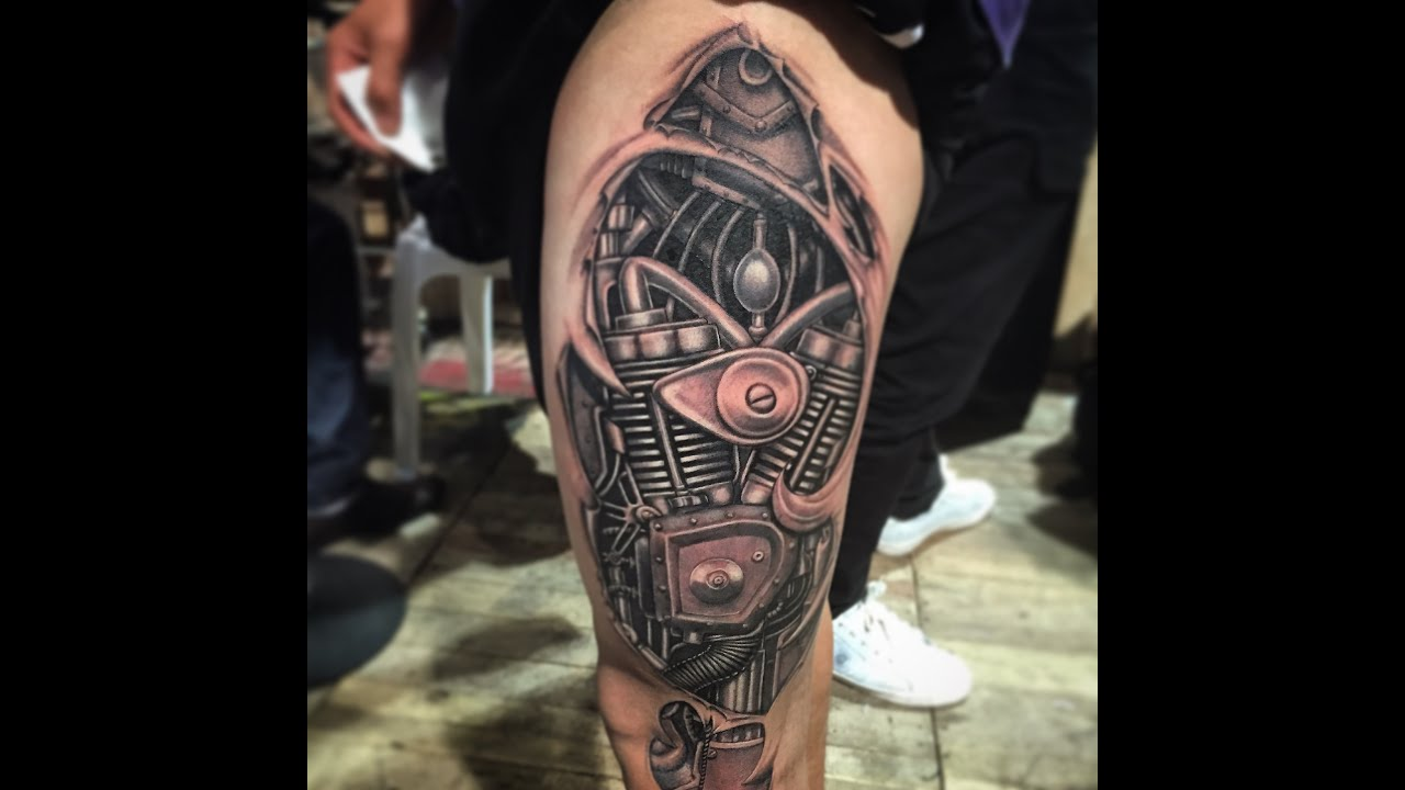 Images Of Biomechanical Tattoos: No Stencil, No Sketching, Biomechanical Tattoo 2014