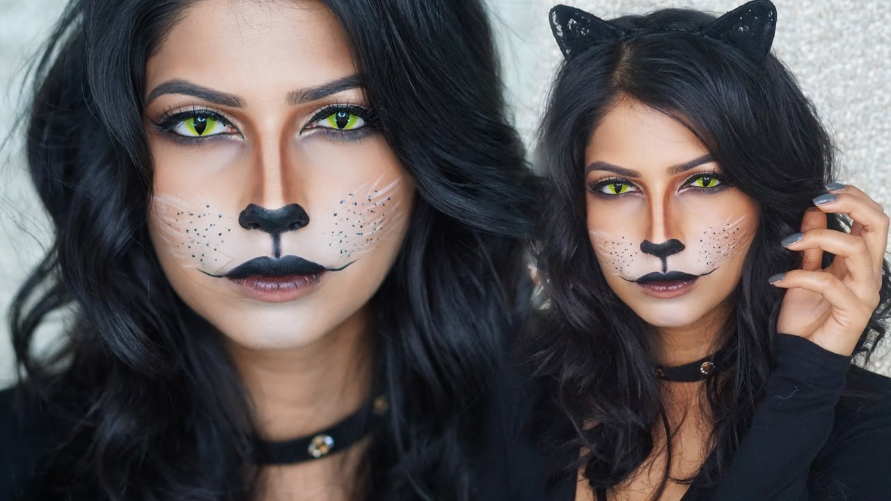 easy cat makeup for halloween! - youtube