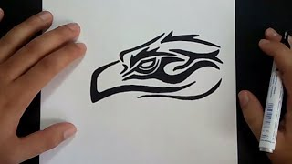 Como dibujar un aguila tribal paso a paso | How to draw a tribal eagle