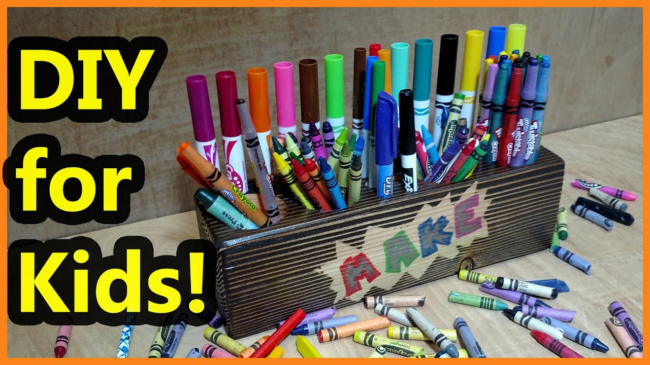 marker crayon storage diy kid friendly youtube
