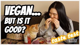HYPED VEGAN PRODUCTS...BUT ARE THEY ANY GOOD?? Taste Test | Mary's Test Kitchen