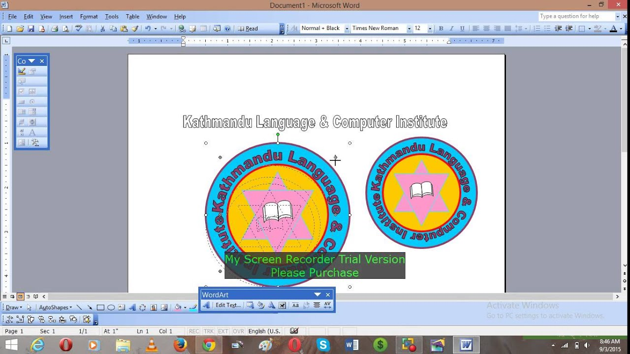 how to make logo in word 2003 2013 youtube