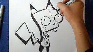 "Cómo dibujar a GIR-Pikachu ""Invasor zim"" | How to draw GIR pikachu"