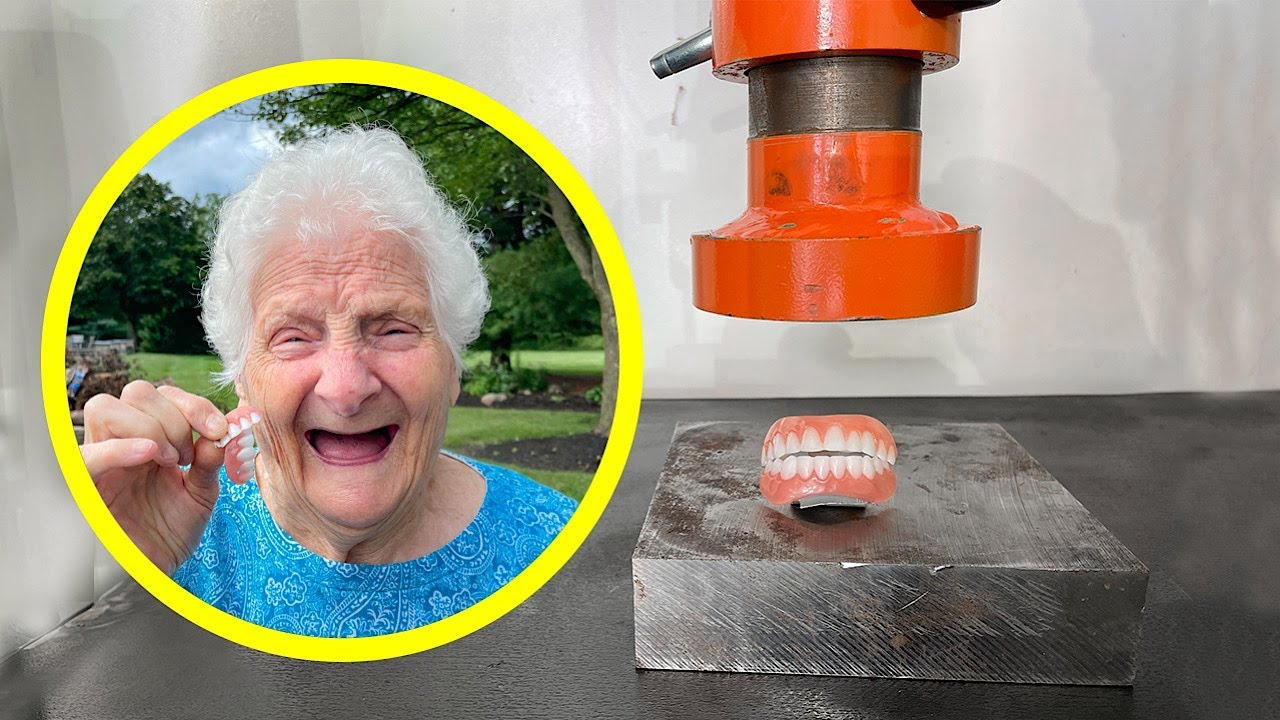 Crushing Granny's Dentures With A Hydraulic Press | Ross Smith